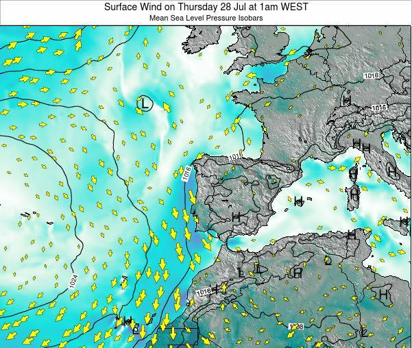 Portugal Surface Wind on Tuesday 22 Apr at 1pm WEST