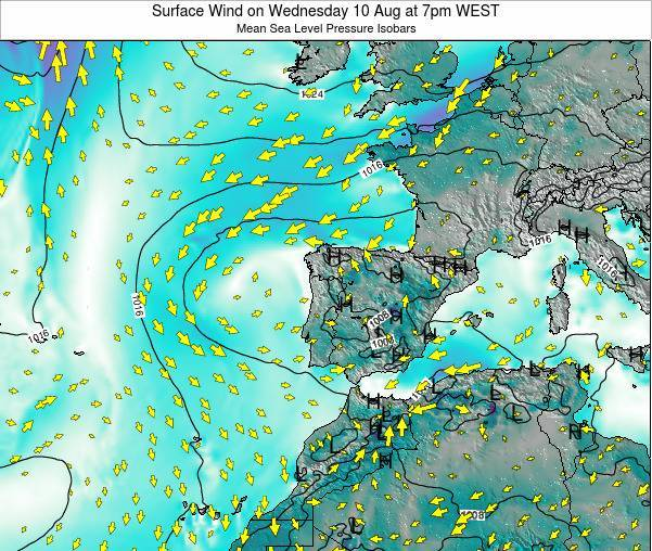 Portugal Surface Wind on Friday 31 Oct at 1pm WEST