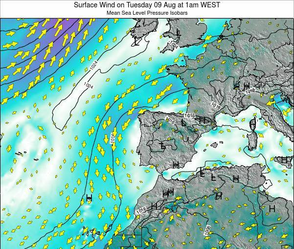 Portugal Surface Wind on Monday 28 Jul at 7pm WEST