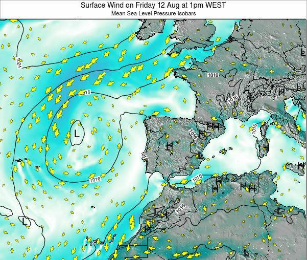Portugal Surface Wind on Thursday 07 Aug at 1am WEST
