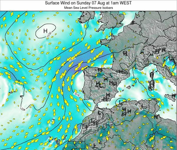 Portugal Surface Wind on Sunday 24 Dec at 6am WET map