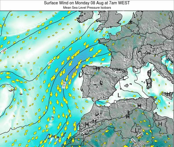 Portugal Surface Wind on Wednesday 26 Jun at 7am WEST