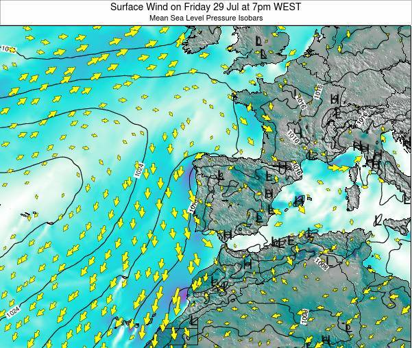 Portugal Surface Wind on Wednesday 30 Aug at 7am WEST