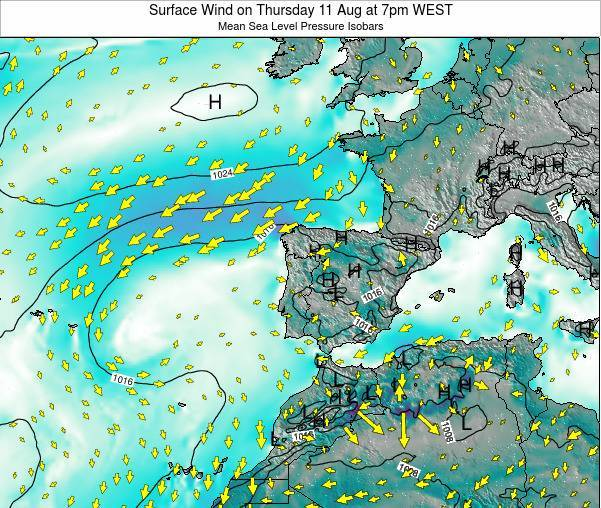Portugal Surface Wind on Sunday 27 Apr at 7pm WEST
