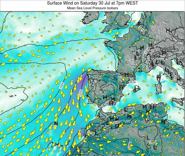 Portugal Surface Wind on Sunday 26 May at 7pm WEST