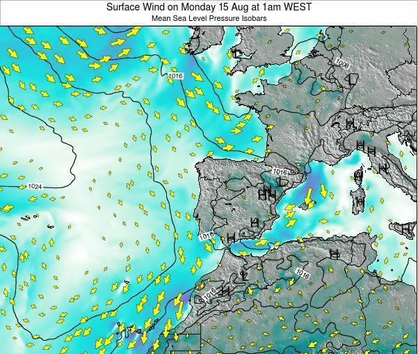Portugal Surface Wind on Sunday 16 Mar at 12pm WET