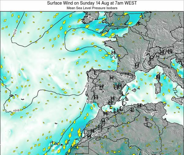 Portugal Surface Wind on Thursday 05 Feb at 12am WET