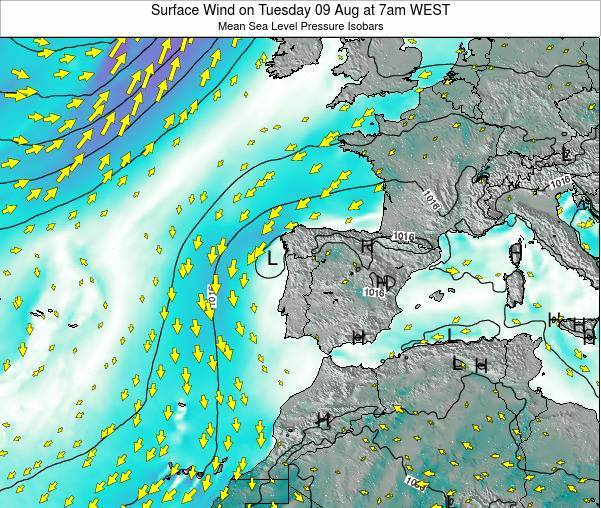 Portugal Surface Wind on Saturday 29 Oct at 7am WEST