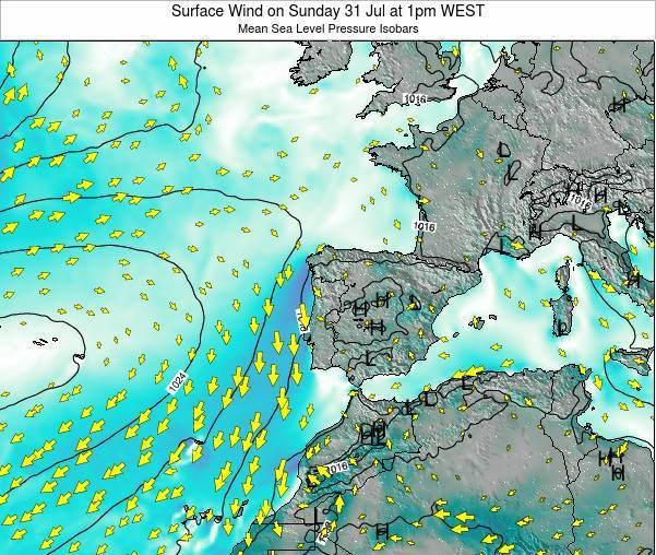 Portugal Surface Wind on Wednesday 06 Aug at 1am WEST