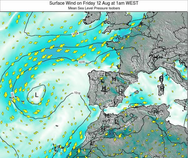 Portugal Surface Wind on Thursday 01 May at 7am WEST