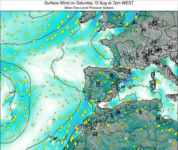 Portugal Surface Wind on Monday 27 May at 1am WEST