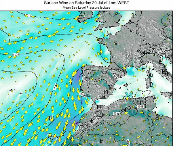 Portugal Surface Wind on Monday 17 Mar at 6am WET