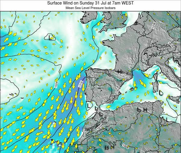 Portugal Surface Wind on Monday 16 Dec at 6am WET