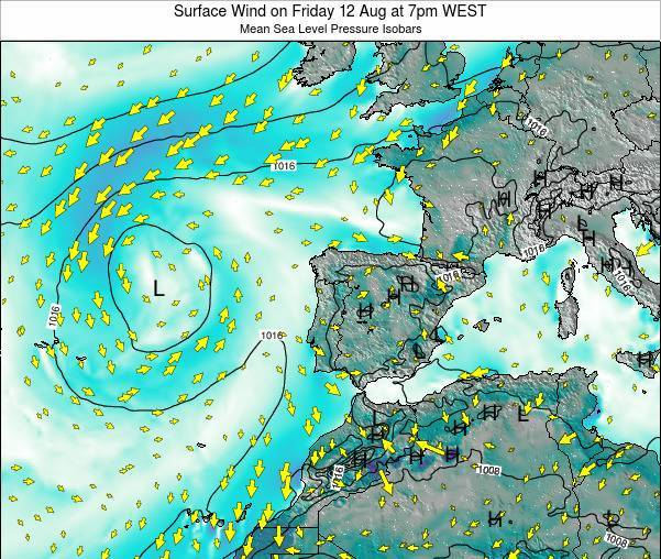 Portugal Surface Wind on Wednesday 30 Apr at 7am WEST
