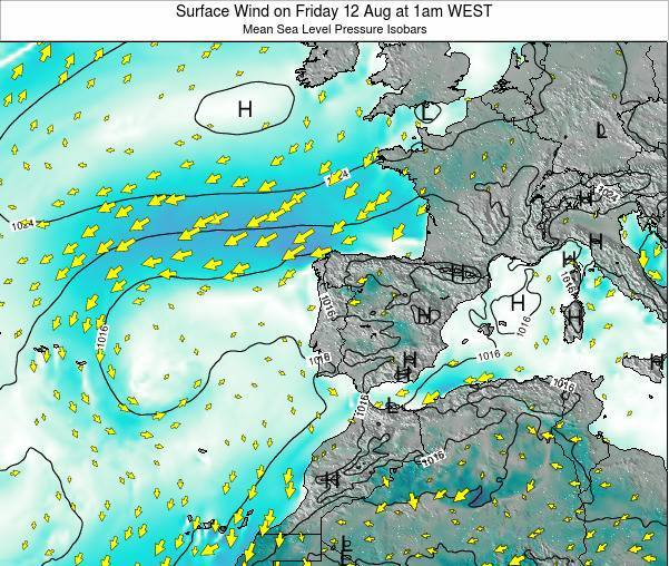 Portugal Surface Wind on Saturday 26 Apr at 7am WEST