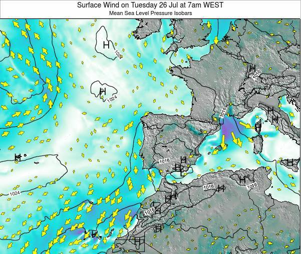 Portugal Surface Wind on Friday 24 May at 7am WEST
