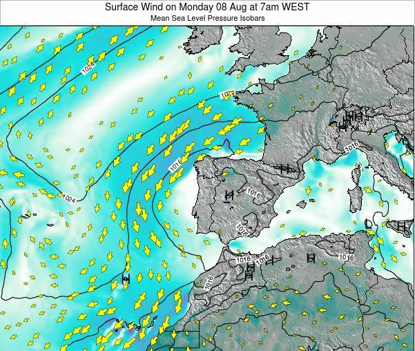 Portugal Surface Wind on Monday 27 May at 7pm WEST