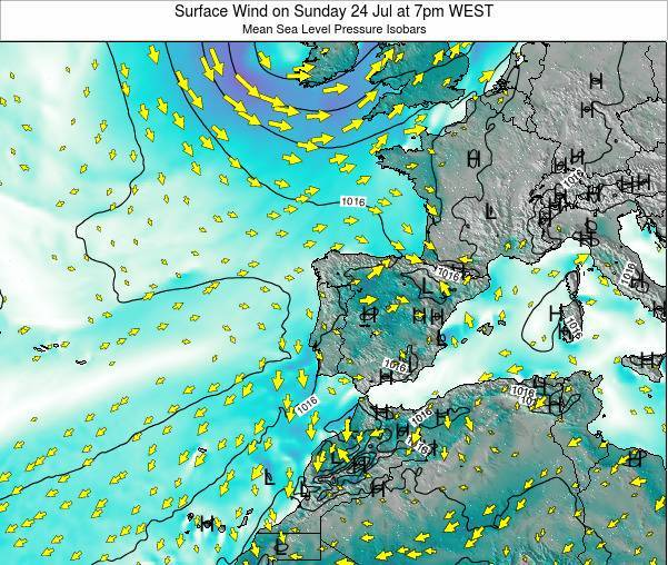 Portugal Surface Wind on Monday 10 Mar at 12am WET