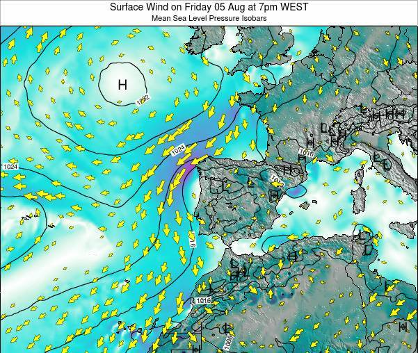 Portugal Surface Wind on Wednesday 28 Sep at 1pm WEST