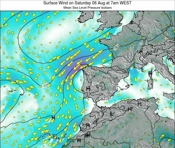 Portugal Surface Wind on Sunday 19 May at 7am WEST