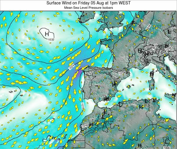 Portugal Surface Wind on Thursday 27 Nov at 6am WET