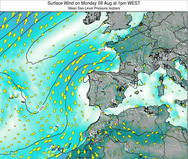 Portugal Surface Wind on Wednesday 12 Mar at 12pm WET