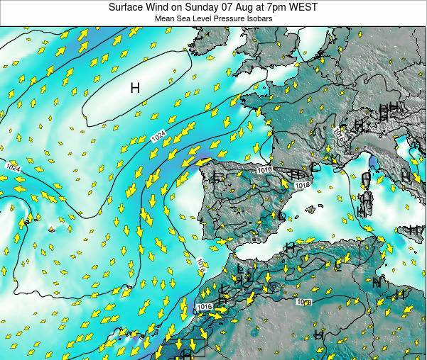 Portugal Surface Wind on Saturday 26 Jul at 7am WEST