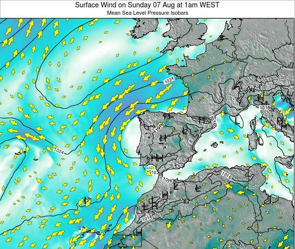 Portugal Surface Wind on Tuesday 10 Dec at 12am WET