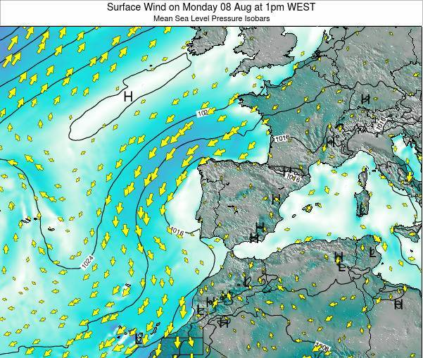 Portugal Surface Wind on Tuesday 28 May at 7am WEST