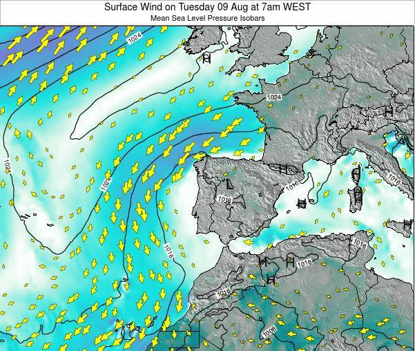 Portugal Surface Wind on Friday 03 Oct at 7pm WEST