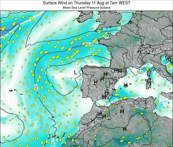 Portugal Surface Wind on Thursday 28 May at 7pm WEST