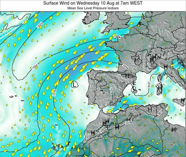 Portugal Surface Wind on Thursday 13 Mar at 6pm WET