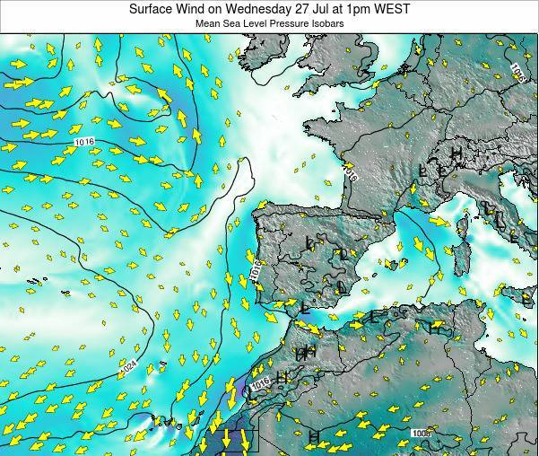 Portugal Surface Wind on Sunday 27 Apr at 1pm WEST