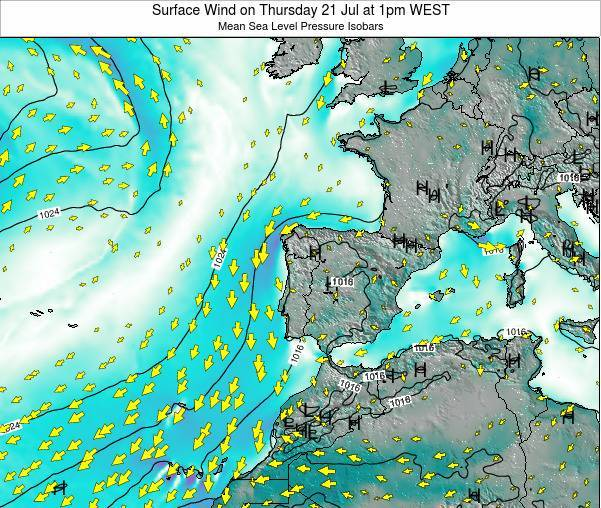 Portugal Surface Wind on Friday 01 Aug at 7am WEST