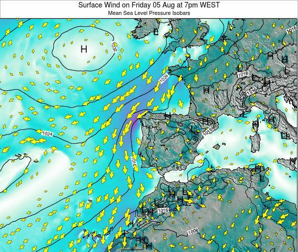 Portugal Surface Wind on Monday 24 Jun at 1am WEST