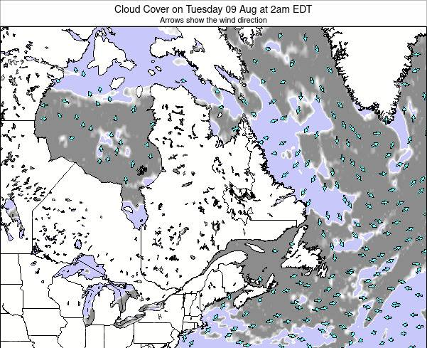 Quebec Cloud Cover on Friday 21 Jun at 2am EDT map