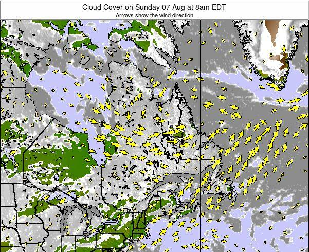 Quebec Cloud Cover on Sunday 24 Mar at 8pm EDT map