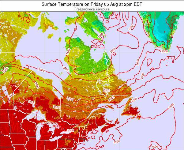Quebec Surface Temperature on Saturday 20 Apr at 8am EDT map