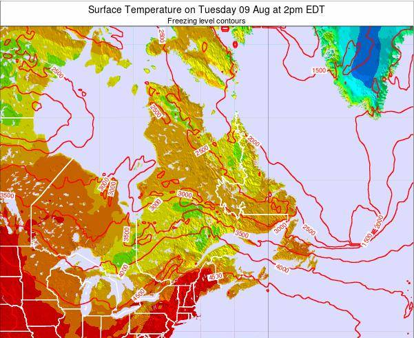 Quebec Surface Temperature on Friday 21 Jun at 8am EDT map
