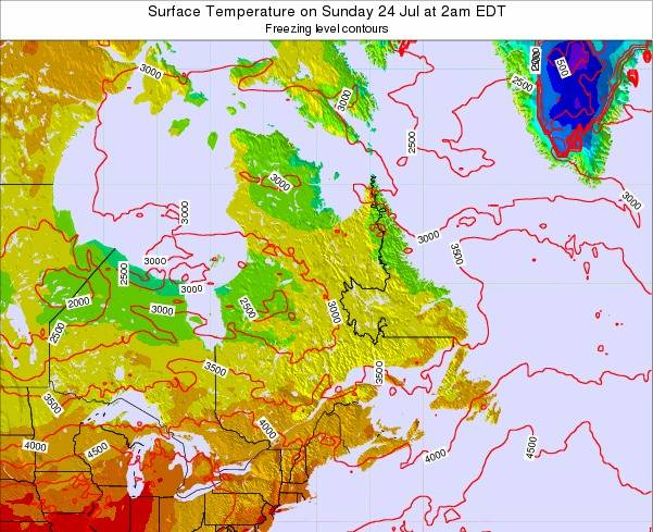 Quebec Surface Temperature on Monday 17 Jun at 2am EDT map