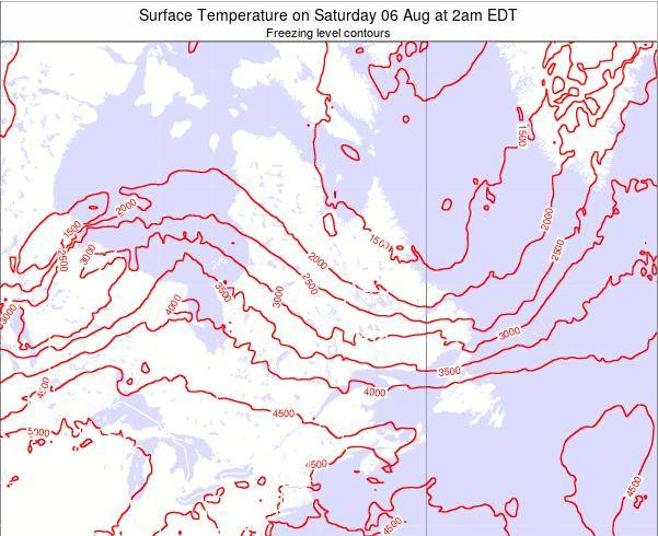 Quebec Surface Temperature on Tuesday 23 Apr at 8am EDT map