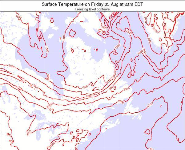Quebec Surface Temperature on Tuesday 28 May at 2am EDT map