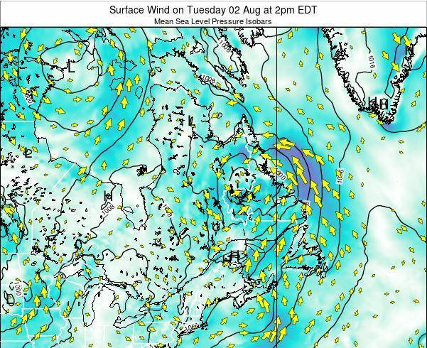 Quebec Surface Wind on Saturday 23 Mar at 2am EDT map