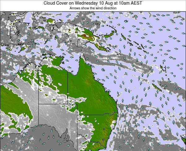 Queensland Cloud Cover on Sunday 26 May at 4am EST