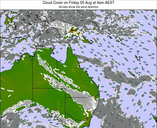 Queensland Cloud Cover on Thursday 17 Apr at 10am EST
