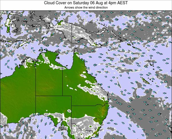Queensland Cloud Cover on Tuesday 22 Aug at 10am AEST