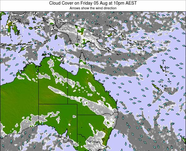 Queensland Cloud Cover on Thursday 24 Apr at 10pm EST