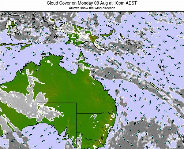 Queensland Cloud Cover on Thursday 21 Aug at 4pm EST