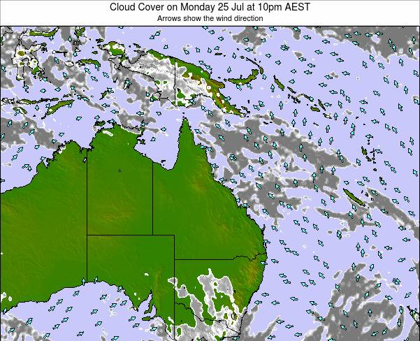 Queensland Cloud Cover on Thursday 13 Mar at 10am EST