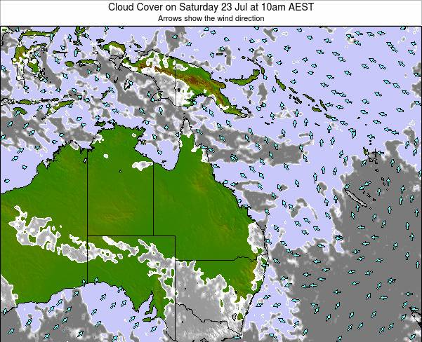 Queensland Cloud Cover on Thursday 23 May at 10am EST